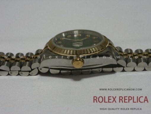 Rolex Date Just Replica Green Dial Steel and Gold