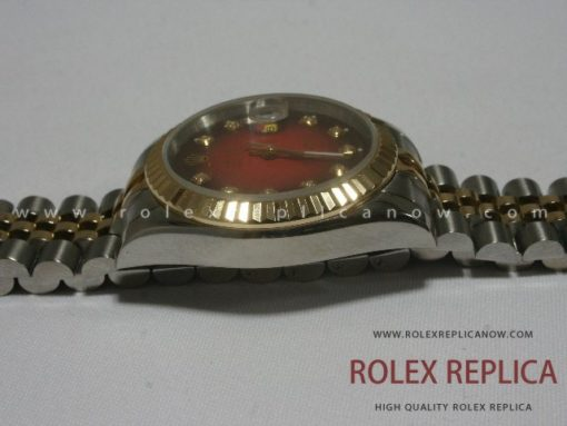 Rolex Date Just Replica Red Dial Steel and Gold
