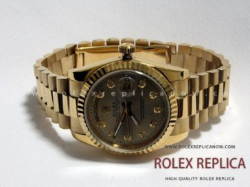 Rolex Day Date Replica Gold Dial with Diamonds