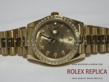 Rolex Day Date Replica Gold with Diamonds
