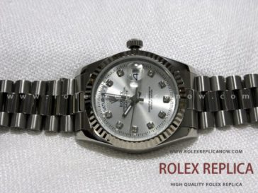 Rolex Day Date Replica Silver Dial with Diamonds (8)
