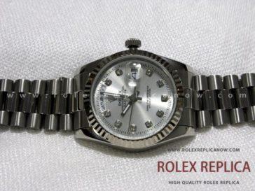 Rolex Day Date Replica Silver Dial with Diamonds (8)