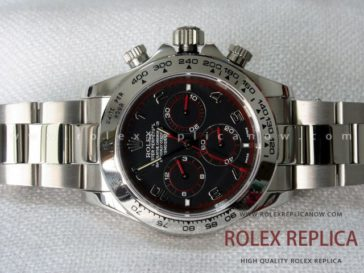 Rolex Daytona Replica Black Dial Red Hands A7750 Swiss Eta