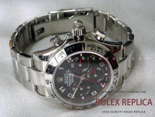 Rolex Replica Daytona Black Dial Red Hands A7750 Swiss Eta