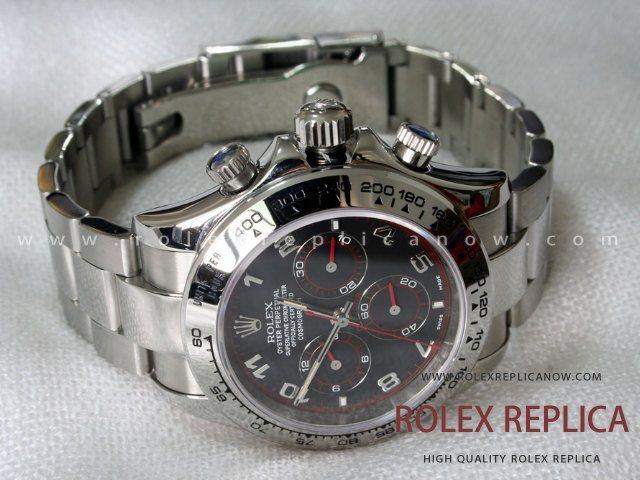 f9ee9aa5528 Rolex Daytona Replica Black Dial Red Hands A7750 Swiss Eta
