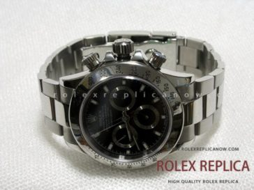 Rolex Replica Daytona Black Dial Steel A7750 Swiss Eta
