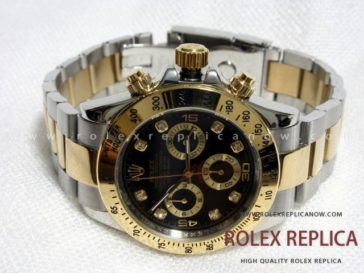 Rolex Daytona Replica Black Dial Steel and Gold A7750 Swiss Eta