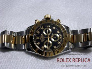 Rolex Daytona Replica Black Dial Steel and Gold A7750 Swiss Eta (7)