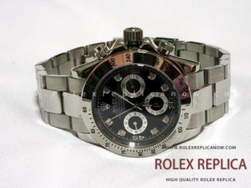 Rolex Daytona Replica Black Dial with Diamonds