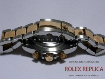 Rolex Daytona Replica Gold Dial Steel and Gold A7750 Swiss Eta