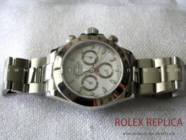 Rolex Daytona Replica White Dial Steel A7750 Swiss Eta