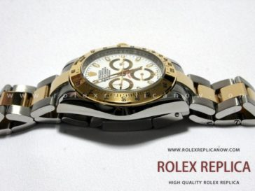 Rolex Daytona Replica White Dial Steel and Gold