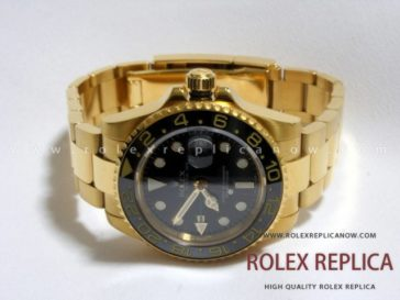 Rolex Gmt Master II Replica Black Dial Gold 2836-2 Swiss Eta