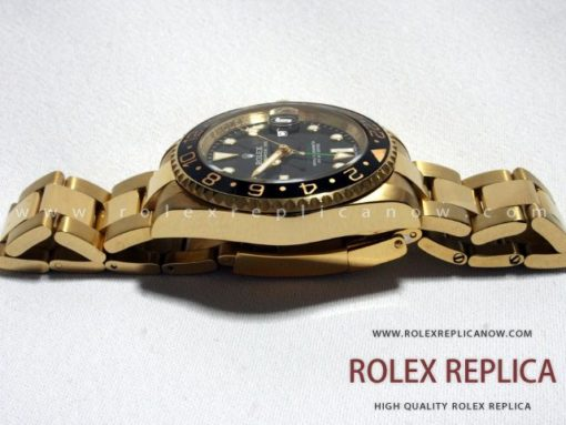 Rolex Gmt Master II Replica Black Dial Gold