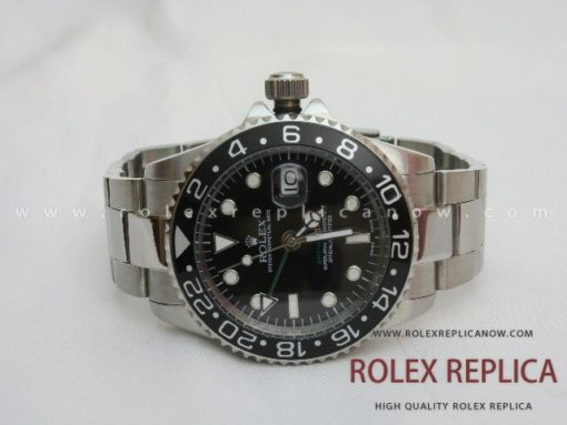 Rolex Gmt Master II Replica Black Dial Green Hand