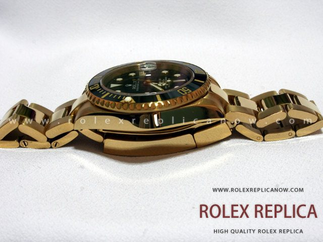 Rolex Submariner Date Replica Black Dial Gold 2836-2 Swiss Eta