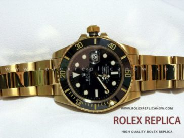 Rolex Submariner Date Replica Black Dial Gold 2836-2 Swiss Eta