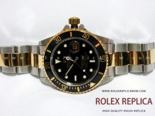 Rolex Submariner Date Replica Black Dial Steel and Gold