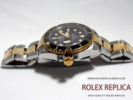 Rolex Submariner Date Replica Black Dial Steel and Gold Swiss Eta