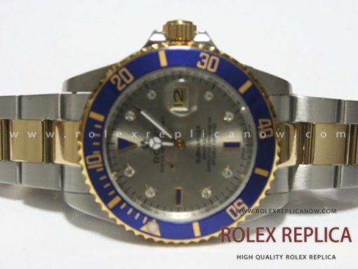 Rolex Submariner Date Replica Blue Bezel Steel and Gold