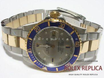 Rolex Submariner Date Replica Blue Bezel Steel and Gold
